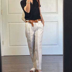 J Crew Cafe Capri Linen Pants size P0